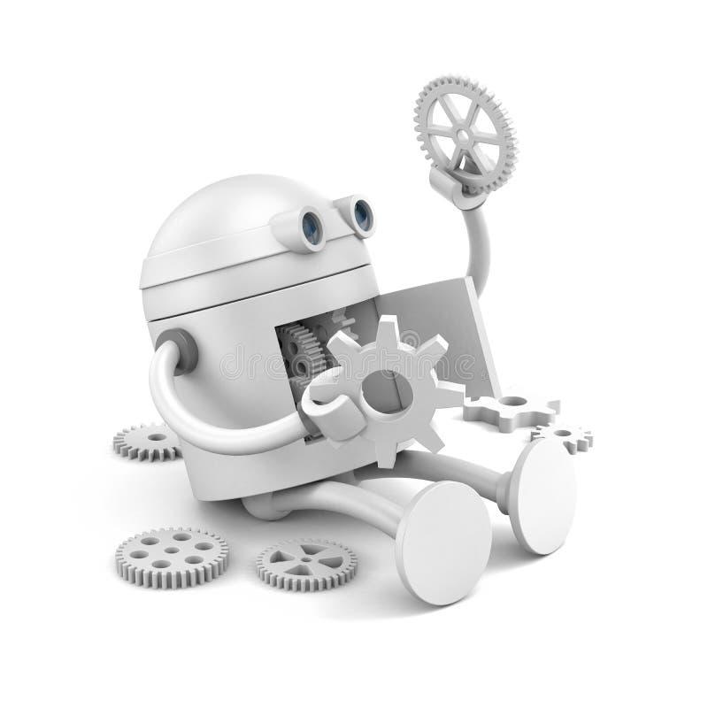 Сломленный робот рассматривает детали своего механизма для ваших проектов вебсайта иллюстрация вектора