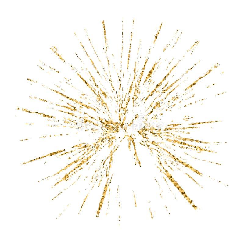 Сломленный стеклянный эскиз белизны золота текстуры grunge отверстия иллюстрация вектора