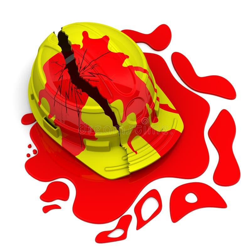 Сломленный шлем в крови иллюстрация штока
