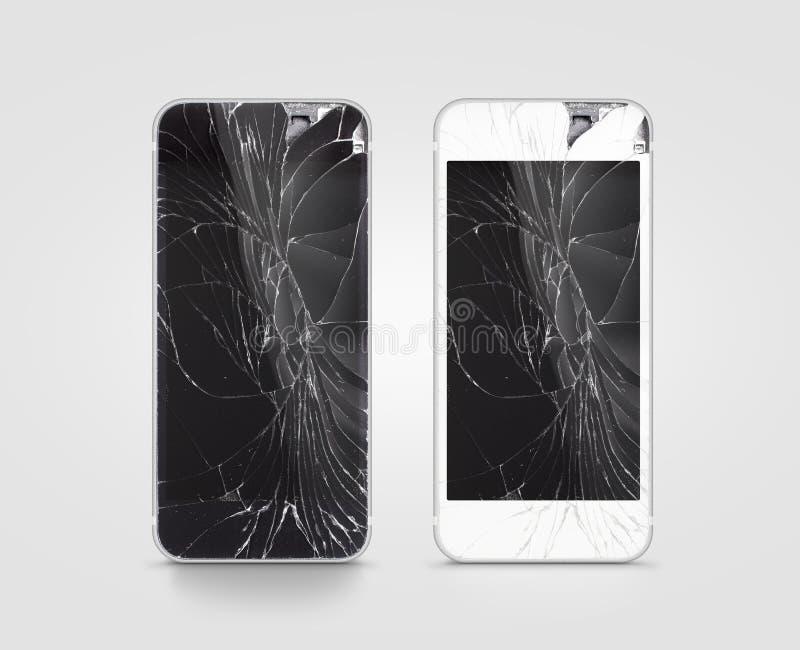 Сломленный экран мобильного телефона, чернота, белизна, путь клиппирования стоковое изображение rf