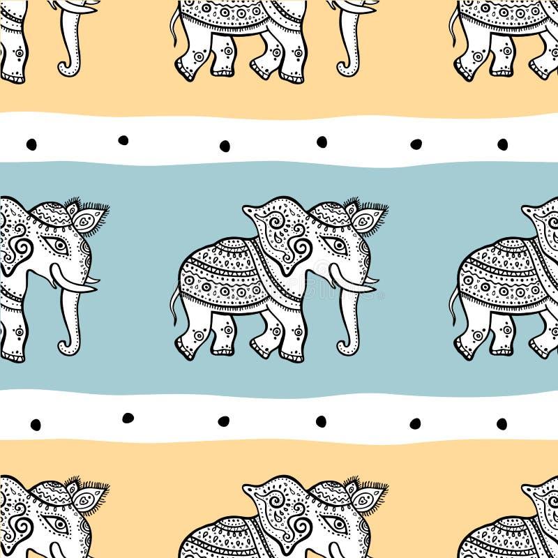 Слоны картина безшовная иллюстрация вектора