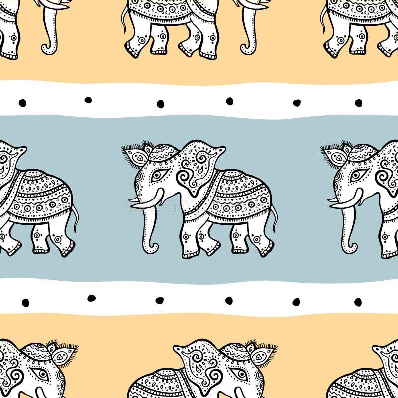 Слоны картина безшовная иллюстрация штока