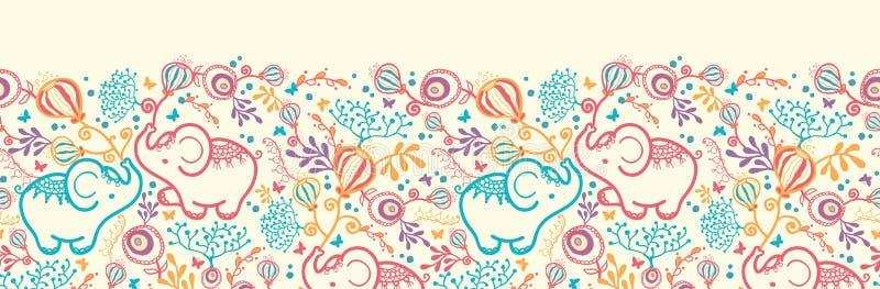 Слоны с картиной цветков горизонтальной безшовной иллюстрация вектора