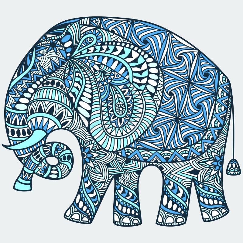 Слон вектора голубой украшенный индийский иллюстрация вектора