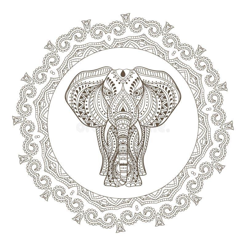 Слон вектора этнический индийский в рамке мандалы бесплатная иллюстрация