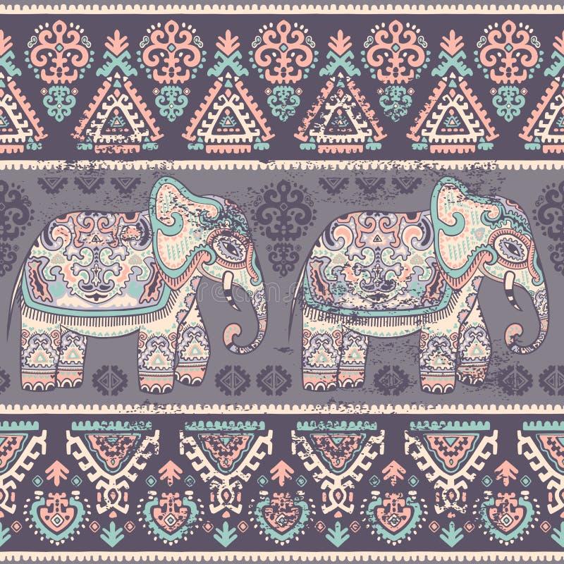 Слон винтажного графического лотоса вектора индийского этнический иллюстрация вектора