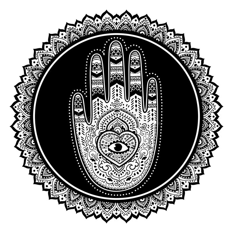 Слон винтажного графического лотоса вектора индийского этнический Африканское tri иллюстрация штока