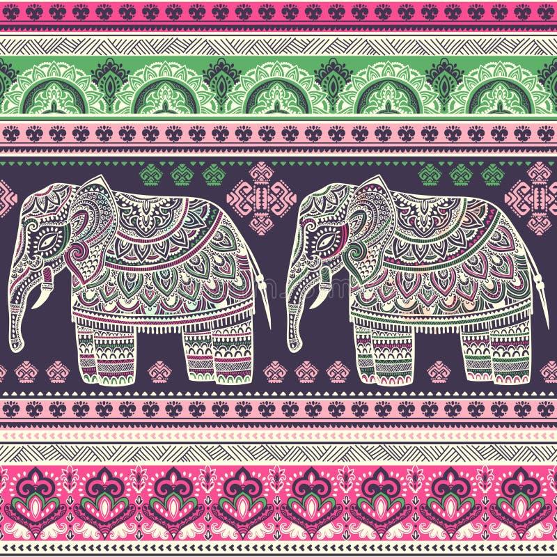 Слон винтажного графического лотоса вектора индийского этнический Африканское tri иллюстрация вектора