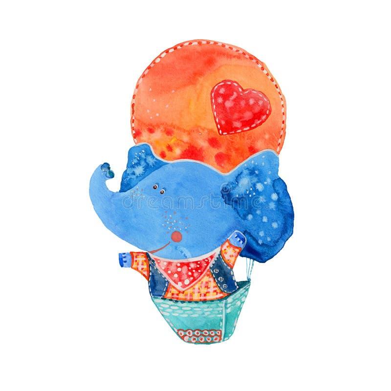 Слон в воздушном шаре иллюстрация штока