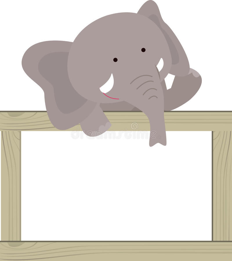 Слон и знамя на белизне бесплатная иллюстрация