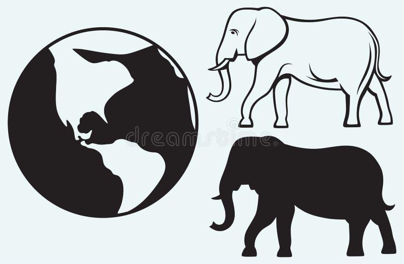 Слон и планета иллюстрация вектора