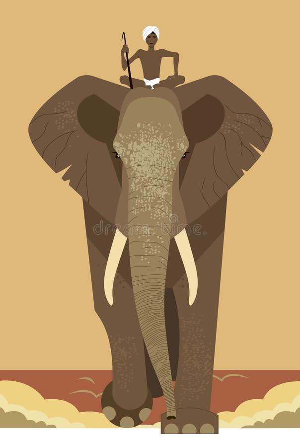 Слон и mahout иллюстрация вектора