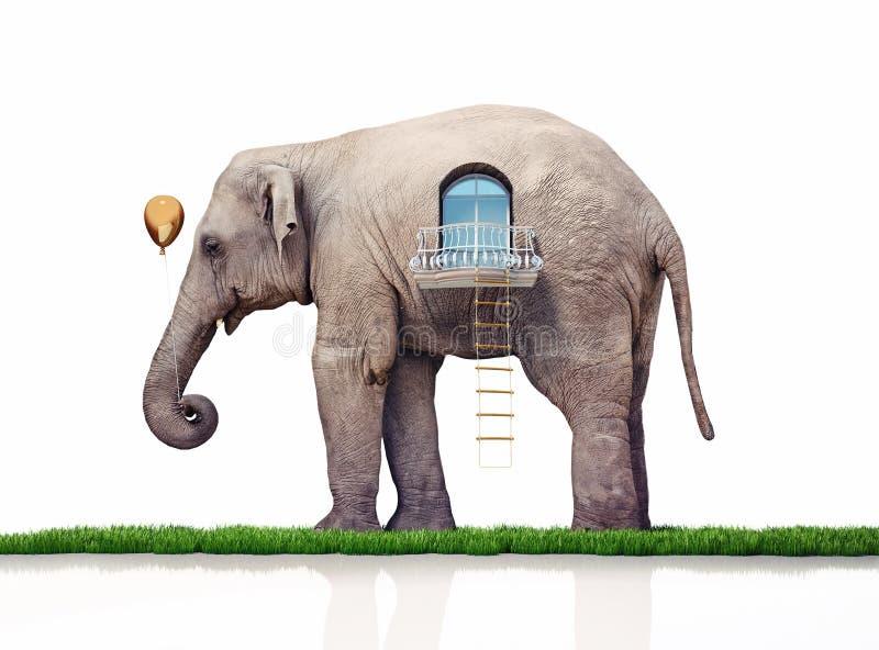 Слон как дом иллюстрация штока