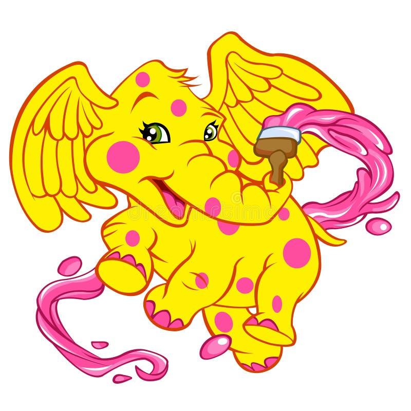 Слон младенца с щеткой иллюстрация вектора