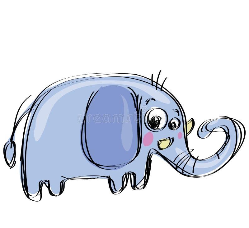 Слон младенца шаржа в стиле чертежа naif ребяческом иллюстрация вектора