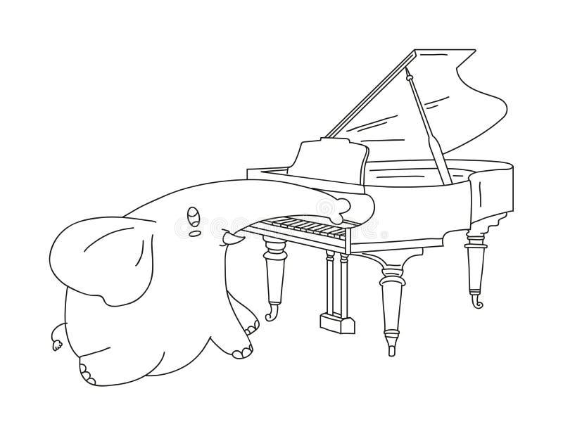 Слон нарисованный рукой играя рояль иллюстрация штока