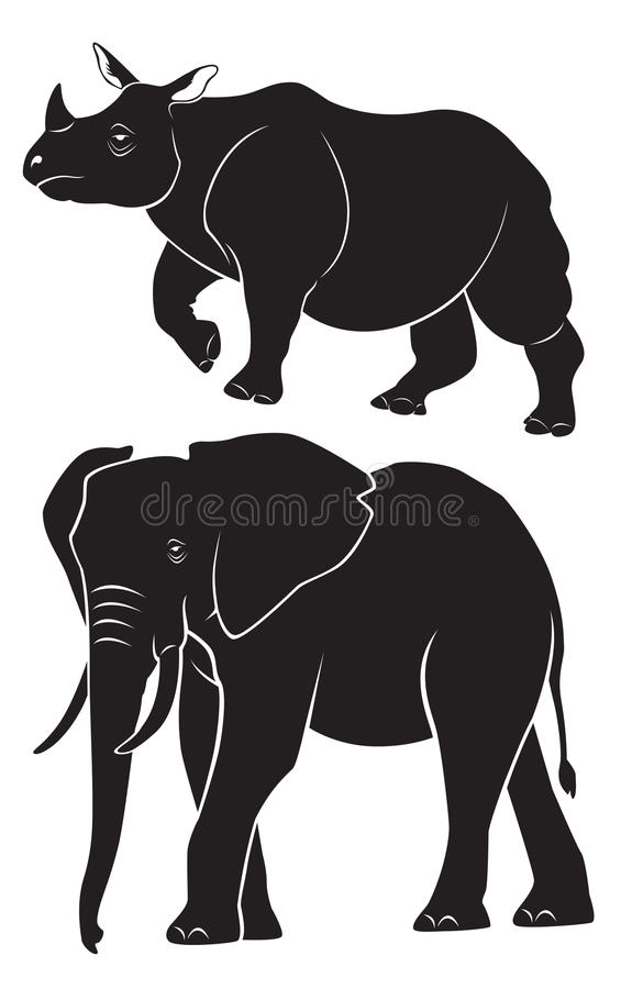 Слон носорога иллюстрация штока