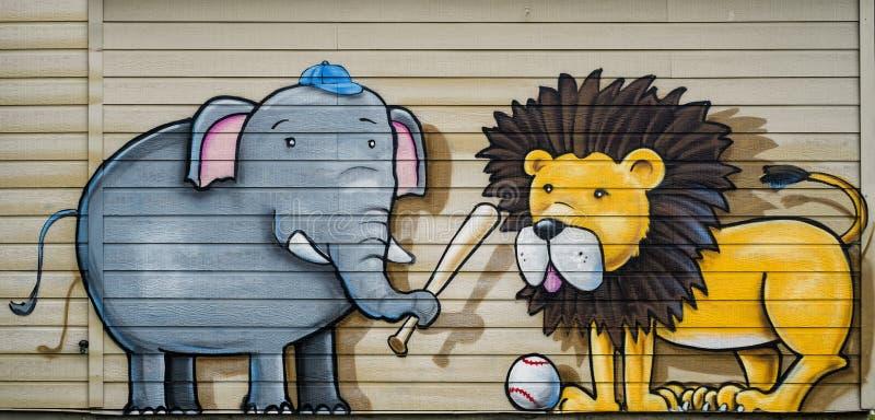 Слон & обезьяны иллюстрация штока