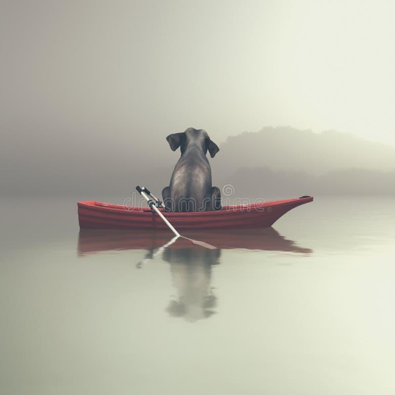 Слон сидя в шлюпке морским путем иллюстрация штока