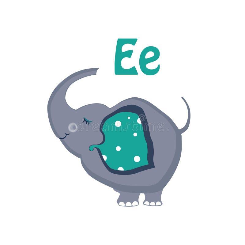 Слон Смешной алфавит, животная иллюстрация вектора иллюстрация вектора