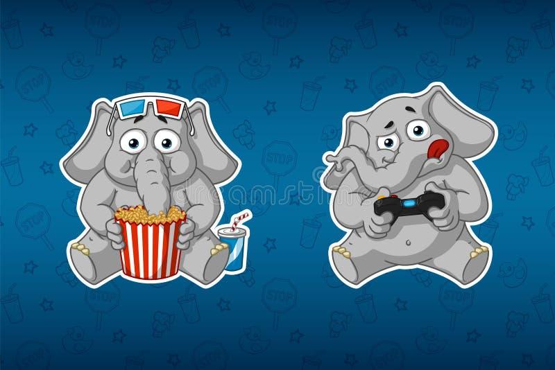 Слон стикера Он смотрит кино и игры в консоли стекла 3d Gamepad Большой комплект стикеров иллюстрация штока