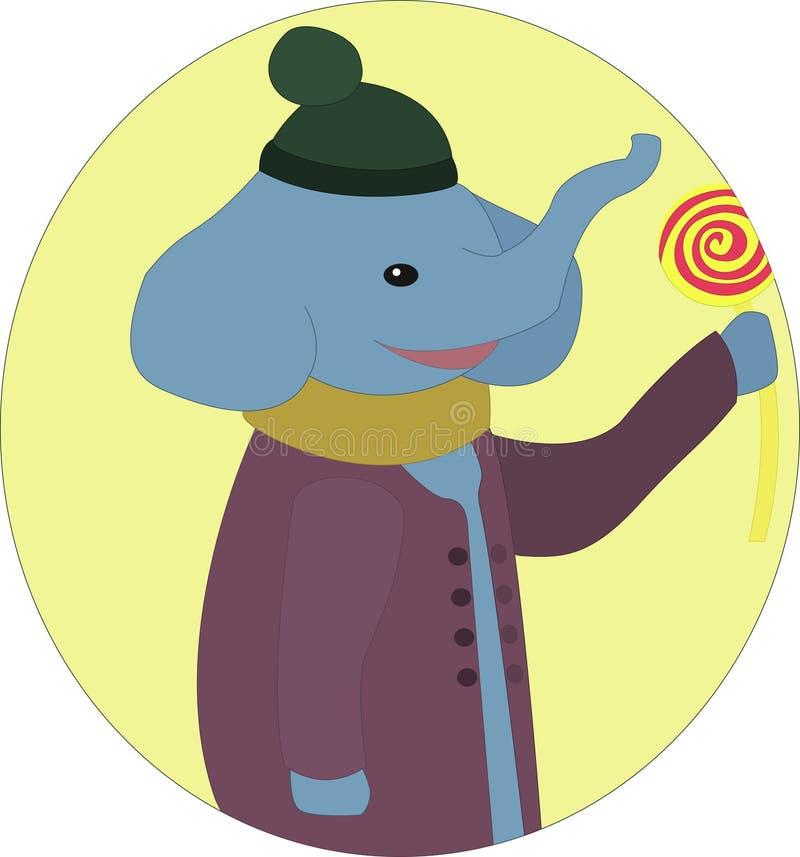 Слон с леденцом на палочке стоковое изображение