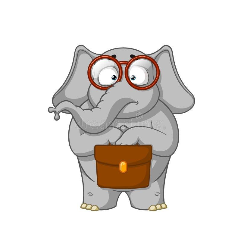Слон Характер Ботаник с стеклами держит портфель в его руках удивлено бесплатная иллюстрация