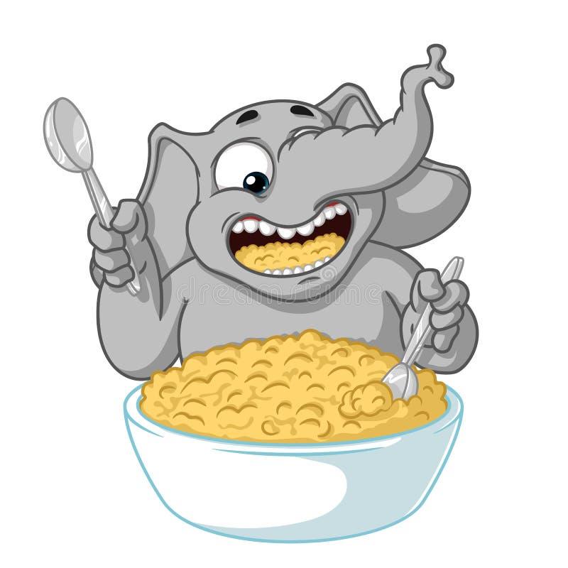 Слон Характер Он ест кашу с ложкой Большое собрание изолированных слонов Вектор, шарж иллюстрация штока