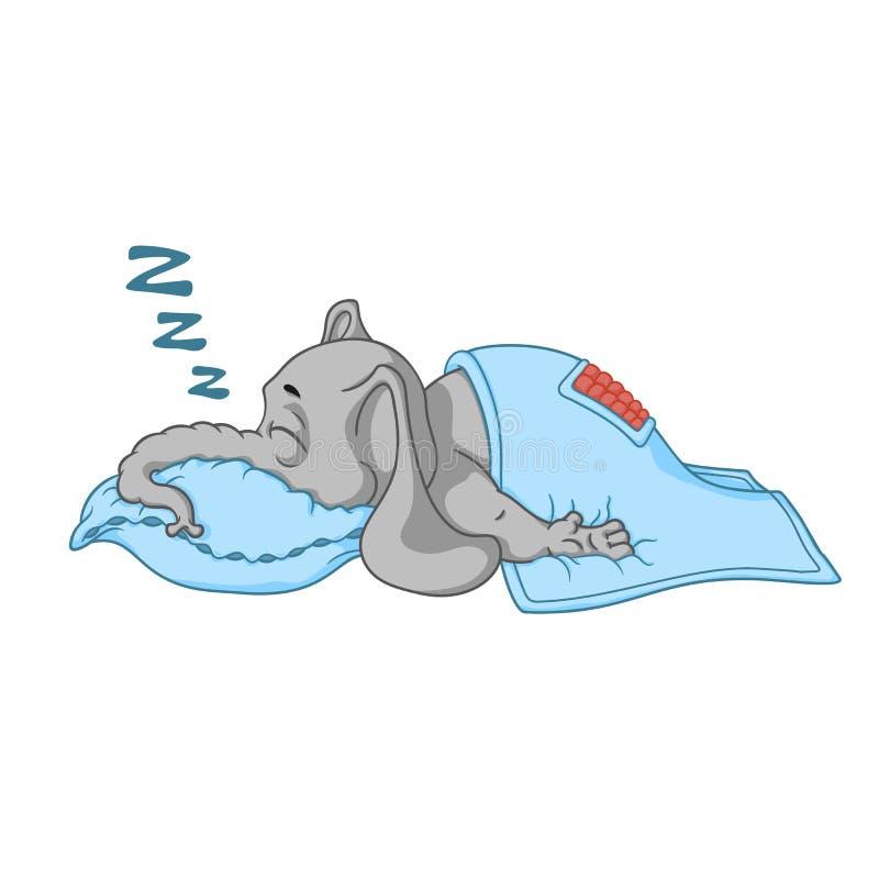 Слон Характер Он спит при глубокий сон, покрытый с одеялом Большое собрание изолированных слонов Вектор, шарж иллюстрация вектора
