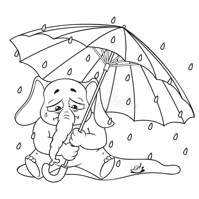 Слон Характер Плачущ под зонтиком, осень, дождь Большое собрание изолированных слонов Вектор, шарж иллюстрация штока