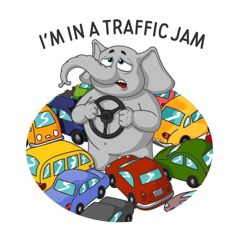Слон Характер Стоять в заторе движения Внутри руки Много автомобили иллюстрация вектора