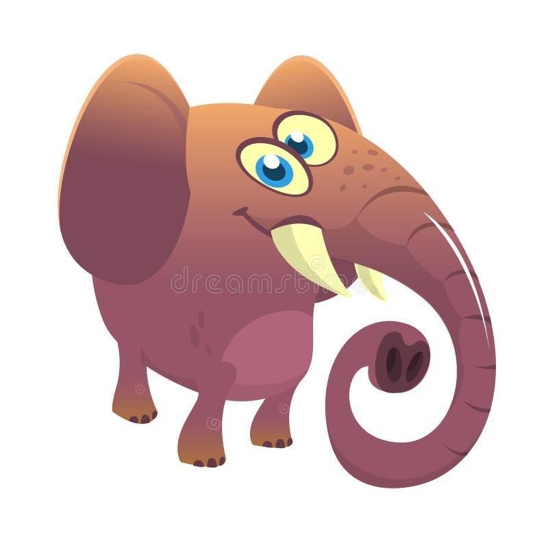 Слон шаржа милый Изолированные иллюстрация или значок вектора бесплатная иллюстрация