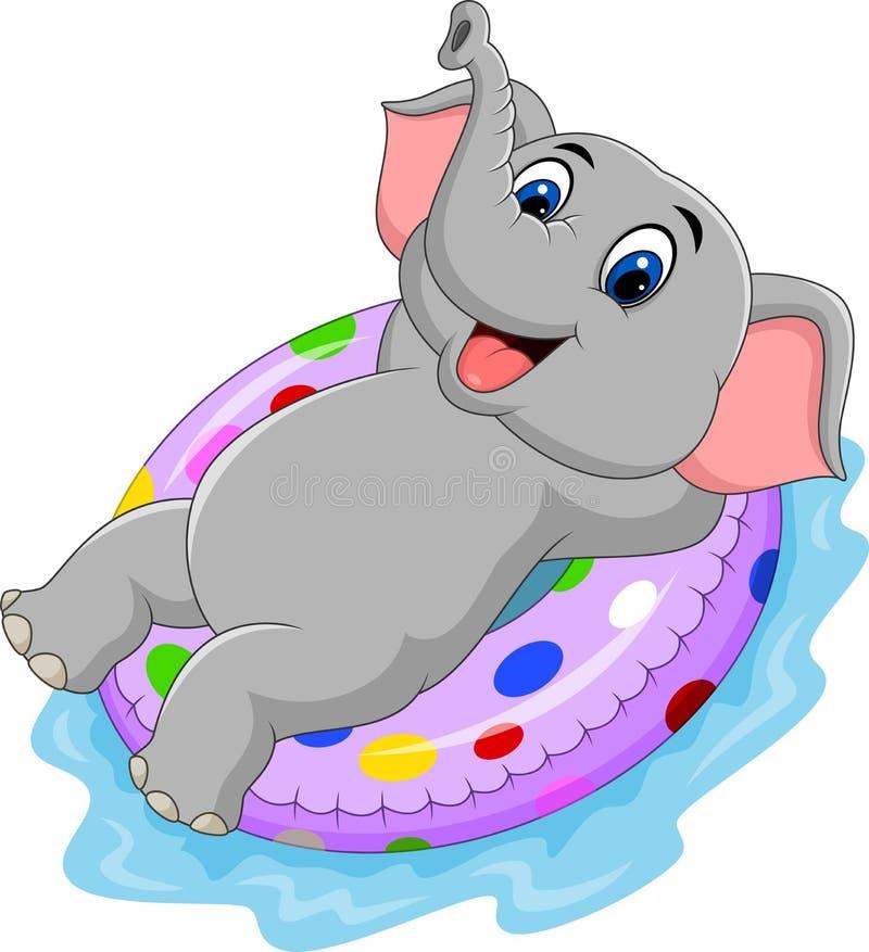 Слон шаржа с раздувным кольцом бесплатная иллюстрация