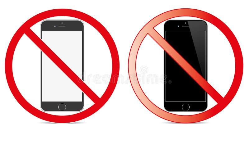 С передвижного переключателя знака с значка телефона отсутствие символа позволенного телефоном передвижного предупреждающего иллюстрация вектора