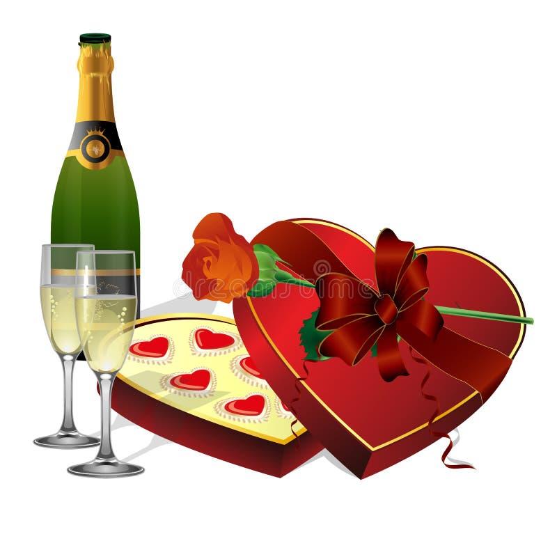 С помадками праздника, шампанское и розы цветков бесплатная иллюстрация