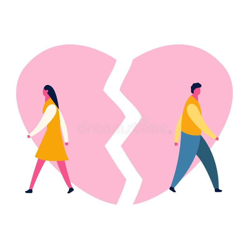С разбитым сердцем унылый парень молодого человека и девушка женщины соединяют parting развод Вектор депрессии иллюстрация штока