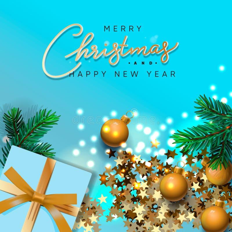 С Рождеством и Новогодним баннером Xmas дизайн игровых ламп гарланда, с реалистичными подарками, зеленая сосна ветка, стоковое изображение rf