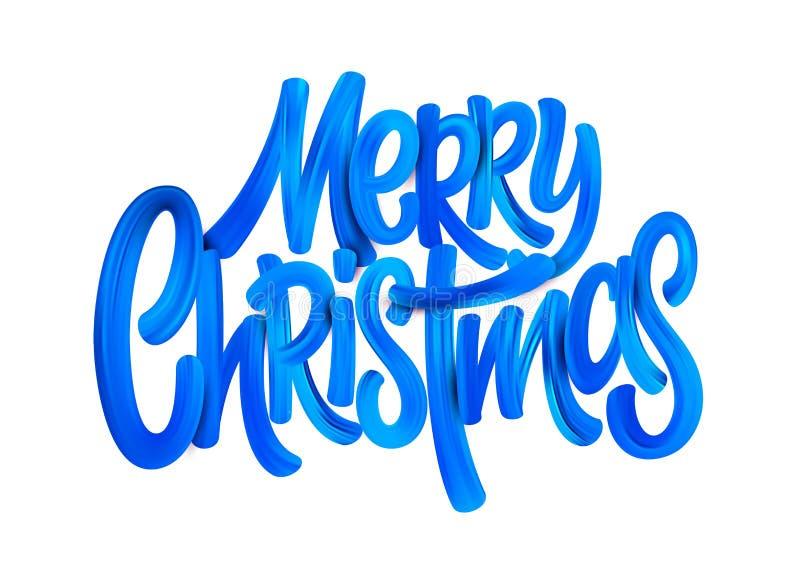 С Рождеством Христовым акриловая литерность кисти иллюстрация вектора