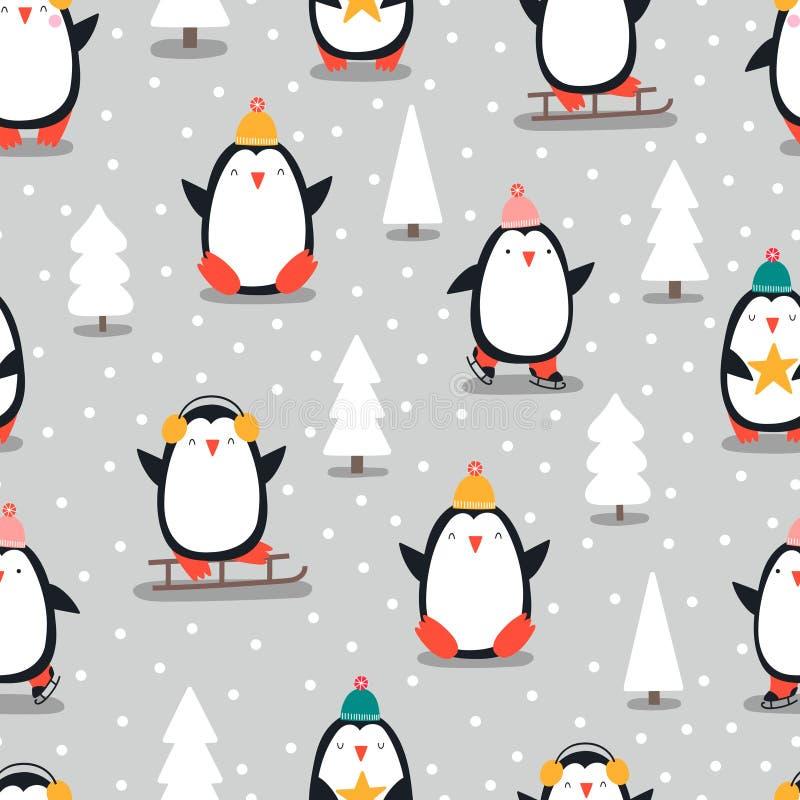 С Рождеством Христовым безшовная картина с пингвинами, внутри стоковое изображение rf