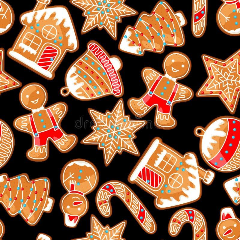 С Рождеством Христовым безшовная картина с различными пряниками бесплатная иллюстрация