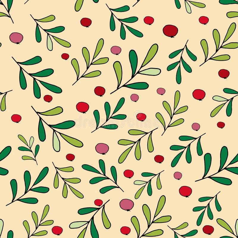С РОЖДЕСТВОМ ХРИСТОВЫМ БЕЗШОВНЫЙ ВЕКТОР КАРТИНЫ Стильные обои рождества с ягодами иллюстрация штока
