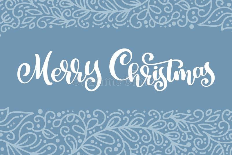 С Рождеством Христовым белый текст года сбора винограда вектора Каллиграфический шаблон карточки дизайна литерности Творческое оф бесплатная иллюстрация