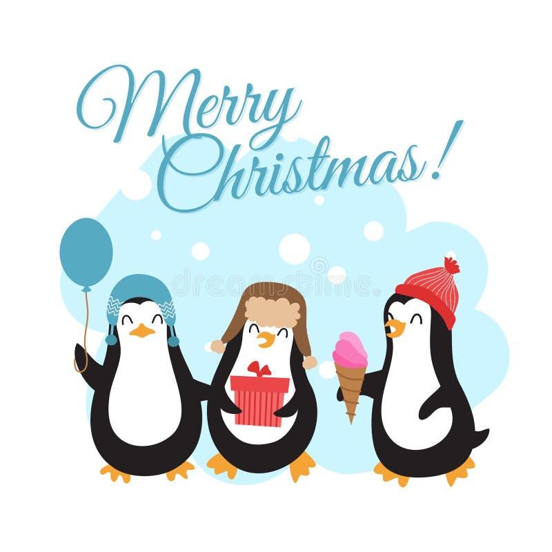 С Рождеством Христовым вектор зимних отдыхов с пингвинами шаржа иллюстрация штока