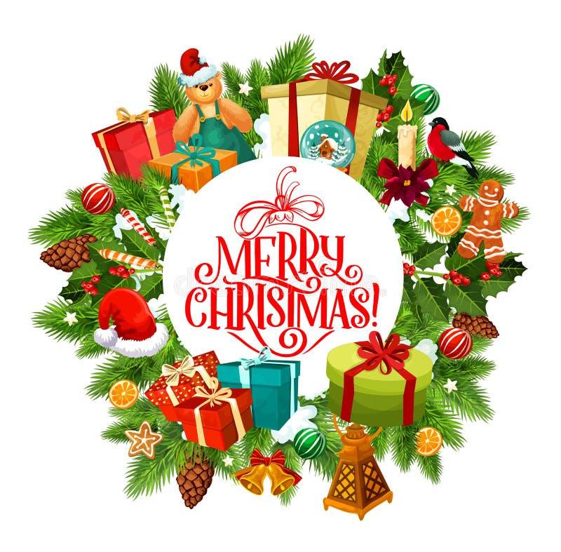 С Рождеством Христовым венок ели и подарков иллюстрация штока