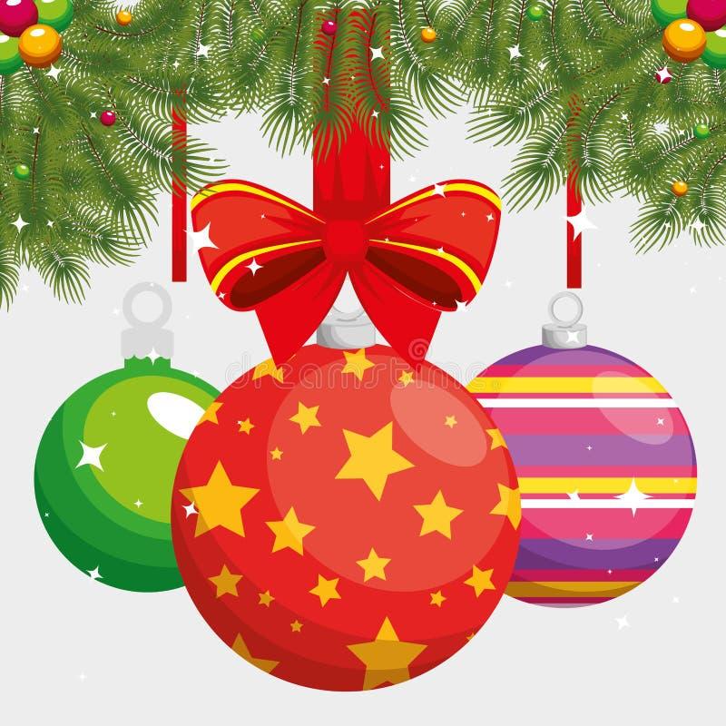 С Рождеством Христовым висеть шариков бесплатная иллюстрация