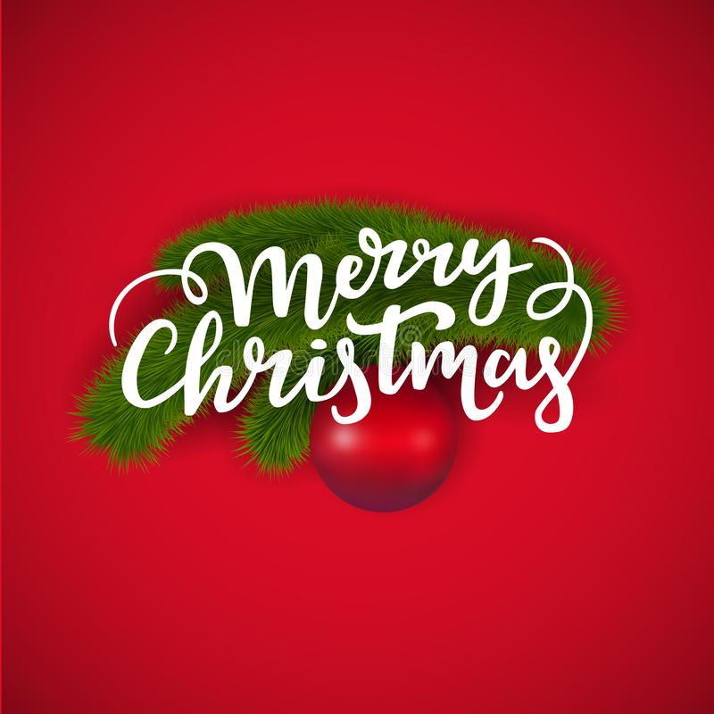 С Рождеством Христовым дизайн поздравительной открытки: вручите написанный помечать буквами ветвь ели текста и Нового Года с bal  бесплатная иллюстрация