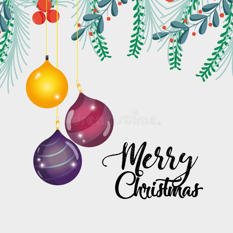 С Рождеством Христовым дизайн украшения к торжеству иллюстрация штока