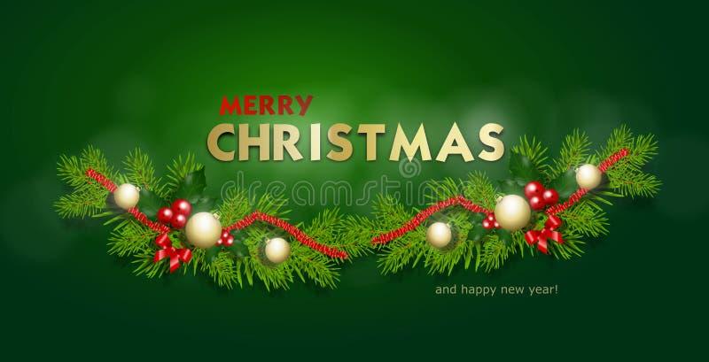 С Рождеством Христовым знамя приветствию бесплатная иллюстрация