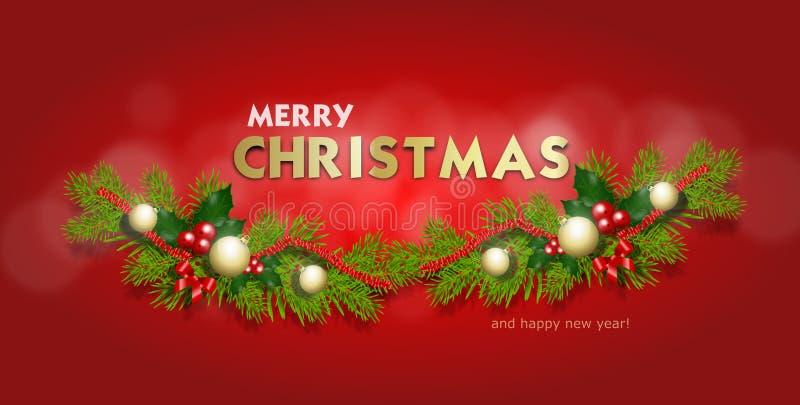 С Рождеством Христовым знамя приветствию иллюстрация вектора