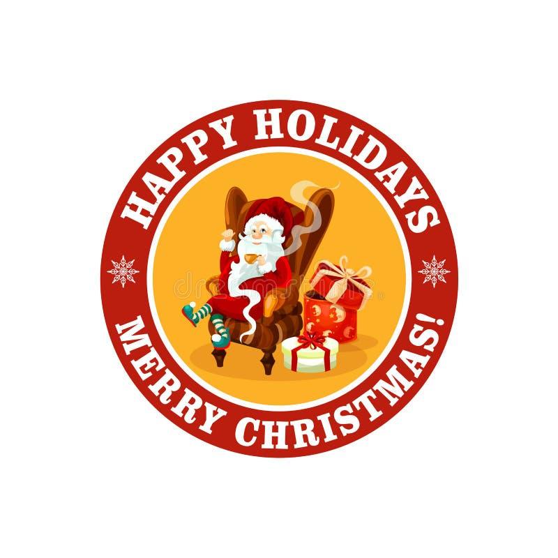 С Рождеством Христовым значок для приветствия вектора праздника иллюстрация вектора